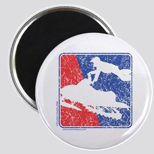 Red White and Blue Sledder Distressed Magnet